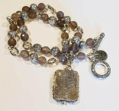 Beaded Necklace With Druzy Agate - Beauty In Stone Jewelry