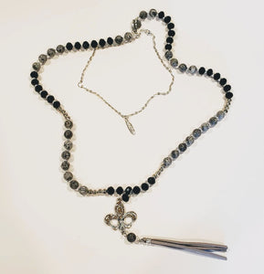 Short Silver Chain Necklace With Drop Pendant layered with fleur de lis