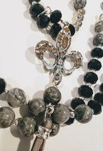 Load image into Gallery viewer, Black & Gray Stone Fleur De Lis Pendant Necklace