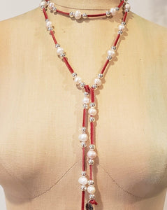 Red Lariat Necklace with freshwater Pearls & Silver Beads