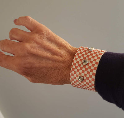 Orange Check Cuff for UT Fans - Beauty In Stone Jewelry