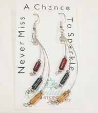 Load image into Gallery viewer, Handmade Silver Dangle Earrings Red, Gray, Cream