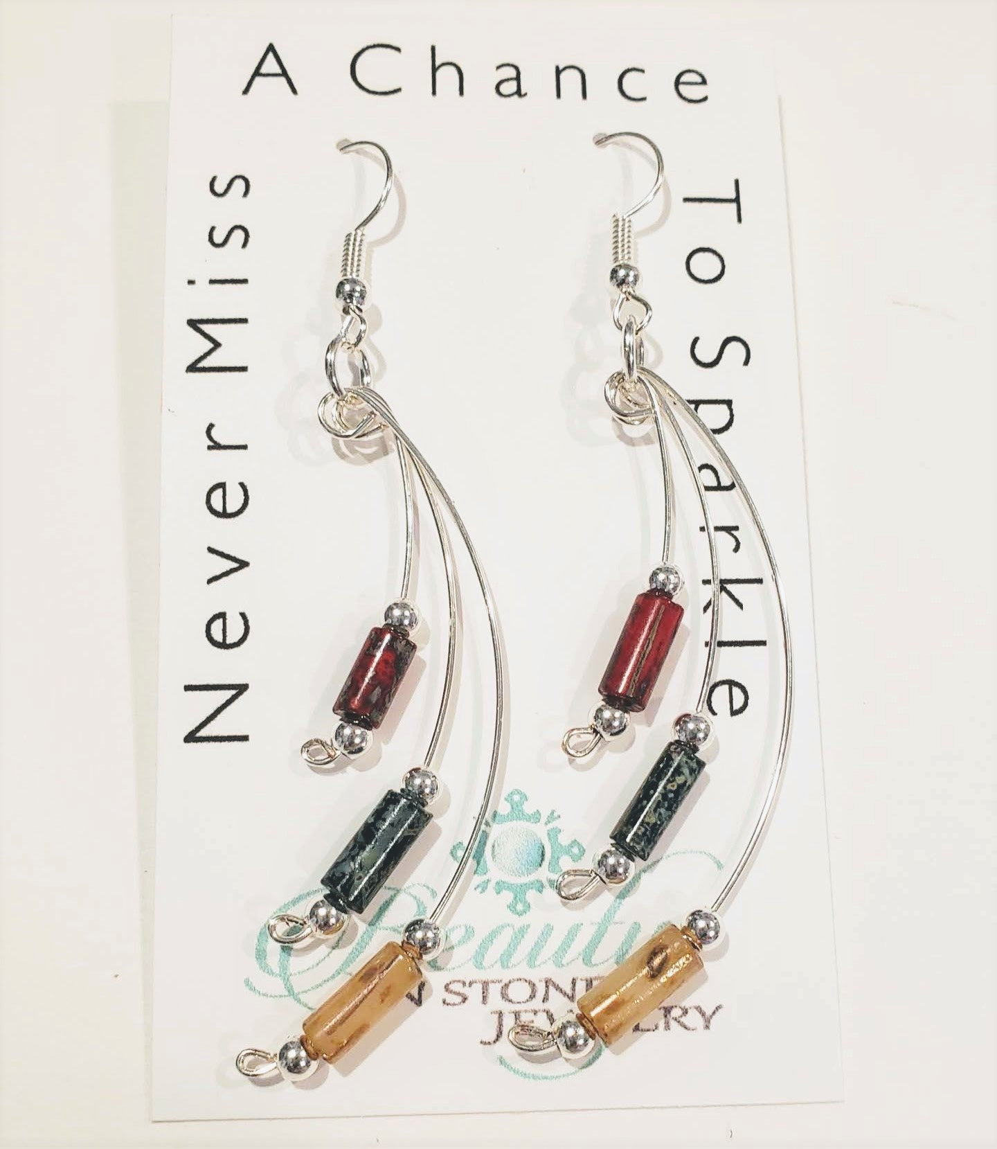 Handmade Silver Dangle Earrings Red, Gray, Cream