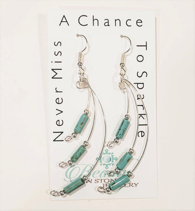Handmade Silver Dangle Earrings Turquoise Blue