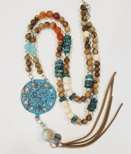 Colorful Stone Necklace With Turquoise Pendant