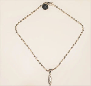 Short Silver Chain Necklace With Drop Pendant