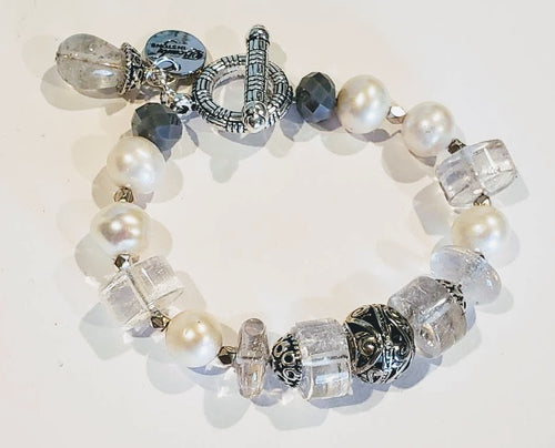 Freshwater Pearl And Quartz Bracelet