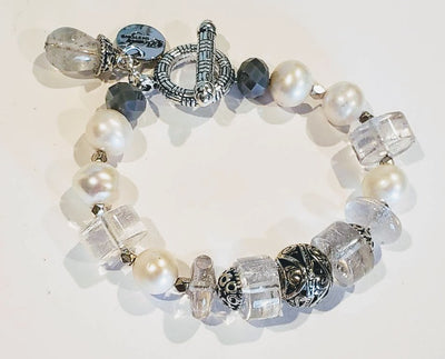 Freshwater Pearl And Quartz Bracelet - Beauty In Stone Jewelry