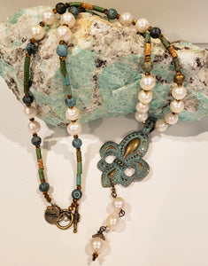 Vintage Distressed Pearl Fleur De Lis Necklace