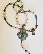 Load image into Gallery viewer, Vintage Distressed Pearl Fleur De Lis Necklace