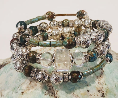 Beaded Stone Wrap Bracelet on Memory Wire