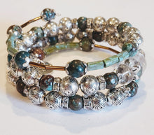 Load image into Gallery viewer, Beaded Stone Wrap Bracelet on Memory Wire