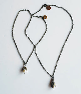 Single Pearl Necklace With Antique Bronze Chain