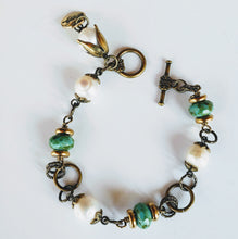 Load image into Gallery viewer, Freshwater Pearl Bronze Chain Bracelet blue bronze