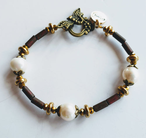 Freshwater Pearl, Gemstone And Dragonfly Bracelet