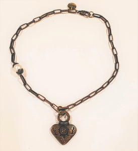 Dramatic Heart Necklace With Pearl Antique Bronze