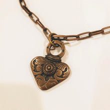 Load image into Gallery viewer, Chain Necklace With Heart & Pearl Antique Bronze