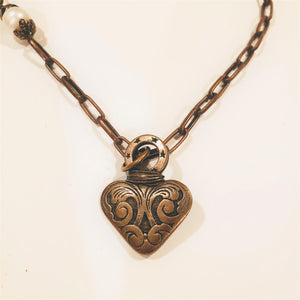 Chain Necklace With Heart & Pearl Antique Bronze