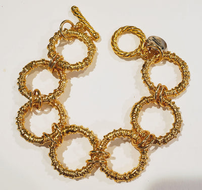 Chunky big link chain bracelet gold with toggle