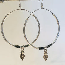 Load image into Gallery viewer, Big hoop earrings, silver dangle picasso beads