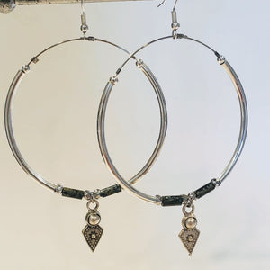 Big hoop earrings, silver dangle picasso beads