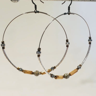 Big hoop earrings, silver dangle picasso beads, bronze