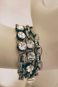 Chain Wrap Bracelet With Rhinestone Bling Two Tone