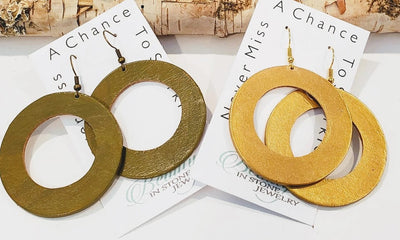 Genuine Leather Hoop Earrings Olive or Gold - Beauty In Stone Jewelry