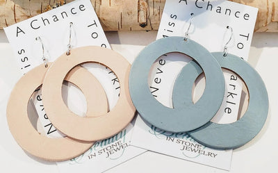Genuine Leather Hoop Earrings Blush or Light Blue - Beauty In Stone Jewelry