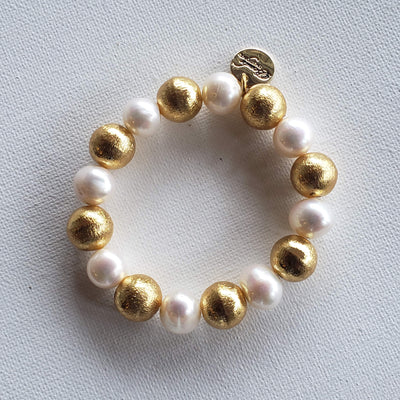 Brushed Gold & Pearl Bracelet - Beauty In Stone Jewelry