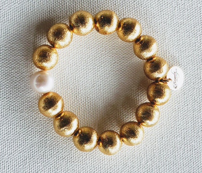 Brushed Gold Bracelet Pearl Accent - Beauty In Stone Jewelry