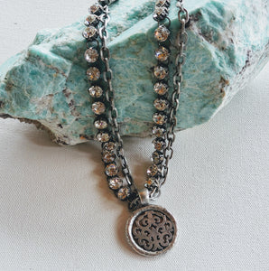 Double Chain & Rhinestones Pendant Necklace