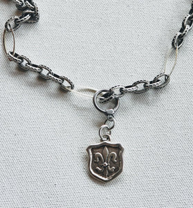 Chain Necklace With Fleur de Lis Crest