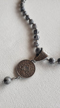 Load image into Gallery viewer, Black & Gray Stone With Coin Necklace