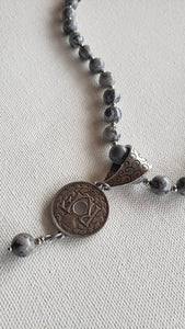 Black & Gray Stone With Coin Necklace