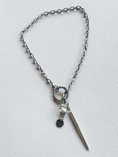 Chain Necklace With Pearl, Pinnacle And Loop Antique Silver - Beauty In Stone Jewelry