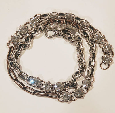 Chain Wrap Bracelet With Rhinestone Bling Two Tone - Beauty In Stone Jewelry