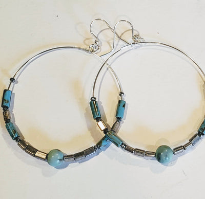 Hoop Earrings Turquoise Picasso - Beauty In Stone Jewelry