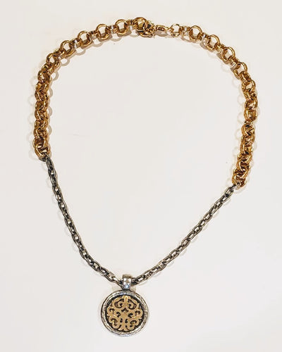 Soft Gold & Matte Silver Chain Necklace With Medallion - Beauty In Stone Jewelry