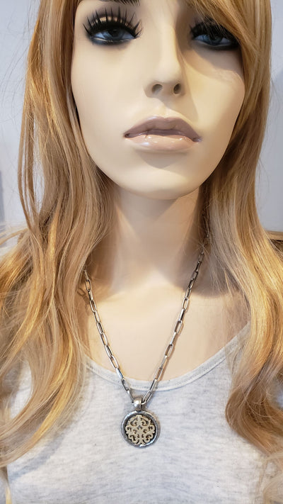 Matte Silver & Soft Gold Chain Necklace With Medallion - Beauty In Stone Jewelry