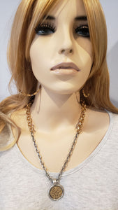Soft Gold & Matte Silver Chain Necklace With Medallion
