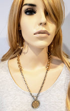Load image into Gallery viewer, Soft Gold & Matte Silver Chain Necklace With Medallion