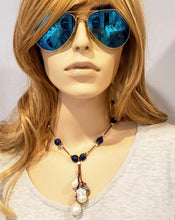Load image into Gallery viewer, Cobalt Navy Blue Beach Glass Necklace With Pearl Tassel