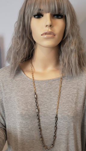 Matte Silver & Soft Gold Chain Necklace