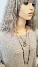 Load image into Gallery viewer, Matte Silver & Soft Gold Chain Necklace With Medallion