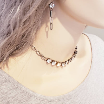 Chain Necklace With Crystal - Beauty In Stone Jewelry