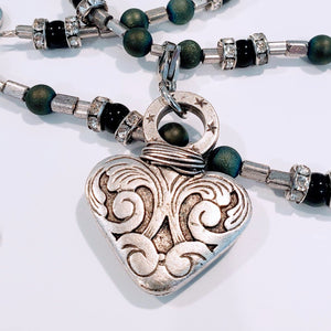 Dramatic Heart on Beaded Necklace