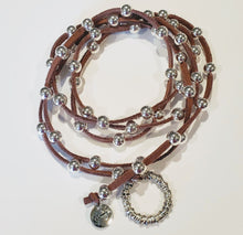 Load image into Gallery viewer, Big Link Silver Beaded Lariat on Suede Leather