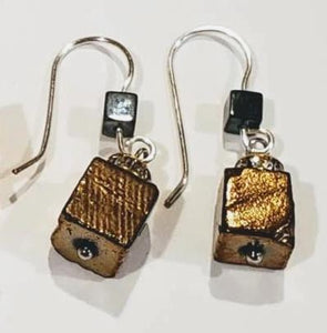 Hematite Cube Drop Earrings