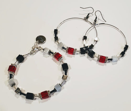 Cube Bracelet Red, Gray & Black